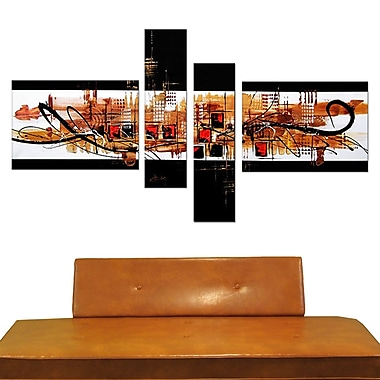 Designart Abstract Squares Hand Painted Canvas Art, 4 Piece, (OL158)