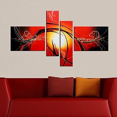 Designart Abstract Orange Sun Hand Painted Canvas Art, 4 Piece, (OL168)