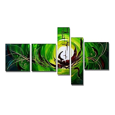 Designart Green Machine Hand Painted Canvas Art, 5 Piece, (OL171)