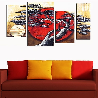 Designart Japanese Tree Hand-Painted, 4 Piece Art, (OL179)