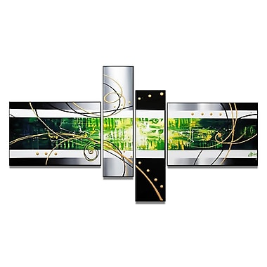 Designart Hand-Painted Green Abstract, 4 Piece Art Set, (OL192)