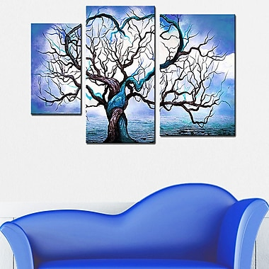 Designart Abstract Tree Hand-Painted, 3 Piece Painting, (OL219)