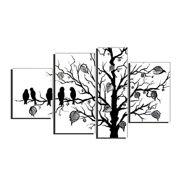 Designart Abstract Black Birds, 4 Piece Hand Painted Canvas Art, (OL221)