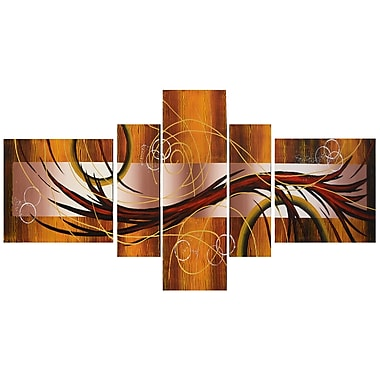 Designart Orange and Brown Hand Painted Canvas Art, 5 Piece, (OL262)