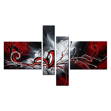 Designart Red Abstract Splash 4-Panel Oil Painting, (OL279)