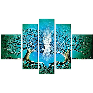 Designart Blue Human Tree Hand-Painted Oil on Canvas, 5 Piece Painting, (OL320)