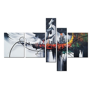 Designart Hand Painted Dark City, 5 Piece Canvas Oil Painting, (OL324)