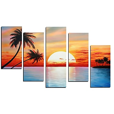 Designart Landscape Sunset Hand Painted Canvas Art, 5 Piece, (OL347)