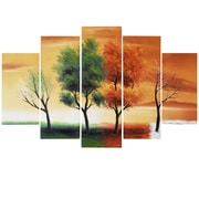 Designart Four Seasons Nature Tree Painting, 5 Piece Art Set, (OL373)