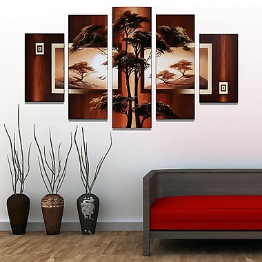 Designart African Tree Landscape Hand-Painted, 5 Piece Artwork, (OL381)
