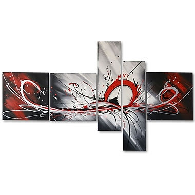 Designart Big Red Splash Abstract Hand Painted Canvas Art, 5 Piece, (OL414)