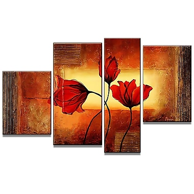Designart Modern Red Flowers Hand-Painted Oil on Canvas, 4 Piece Painting, (OL518)