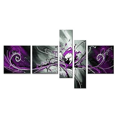 Designart – Éclaboussures violettes abstraites, toile peinte à la main, 5 panneaux (OL805)