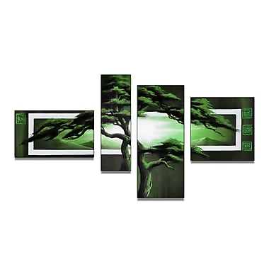 Designart Unknown Green African Landscape Hand-Painted, 4 Piece Canvas Art, (OL890)
