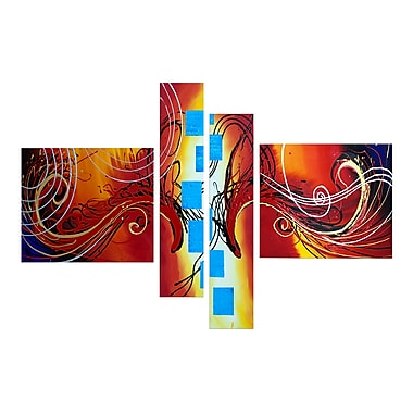 Designart Colorful Abstract, 4 Piece Orange Abstract Painting, (OL1010)