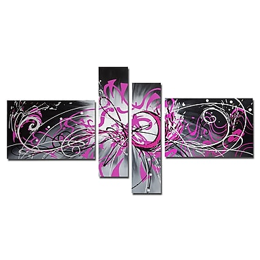 Designart Unknown Abstract Graffiti Hand-Painted, 4 Piece Canvas Art, (OL1020)