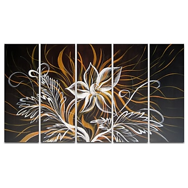 Designart Modern Black Flowers Canvas, 5 Piece Oil Painting Set, (OL1022)