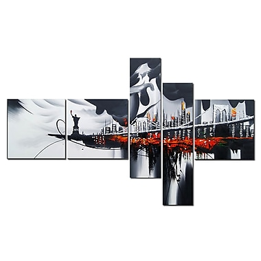 Designart Hand Painted Dark NEW YORK City, 5 Piece Canvas Oil Painting, (OL1061)