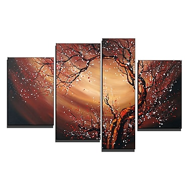 Designart Large Canvas Painting-Floral Whirlwind, 4 Piece, (OL1086)