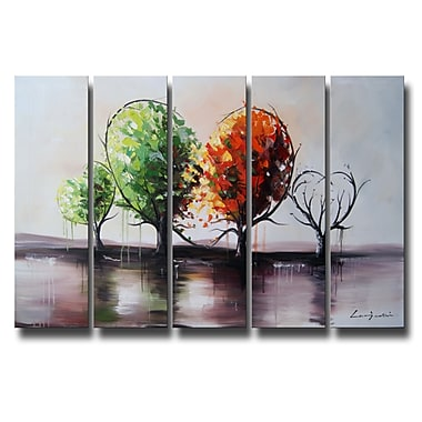 Designart Blossoming Affection, 5 Piece Landscape Oil Painting, (OL1087)