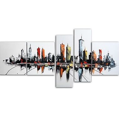 Designart, 5 Piece Colorful USA Cityscape Oil Painting on Canvas, (OL1091)