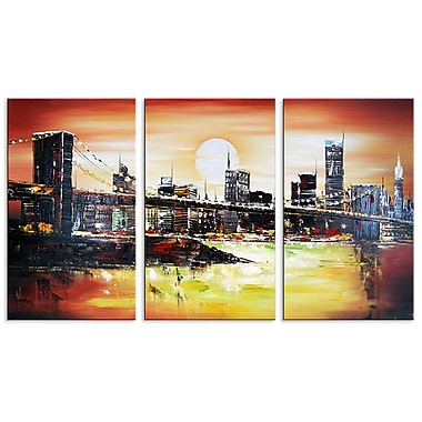 Designart Sunrise in New York Oil Painting, 3 Piece, (OL1131)