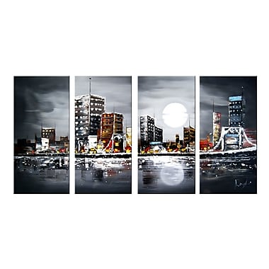 Designart Moonrise City 4-panel Textured Painting, (OL1133)