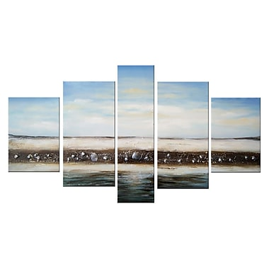 Designart Modern Beach Seashell, 5 Piece Hand-Painted Oil on Canvas Art, (OL1153)