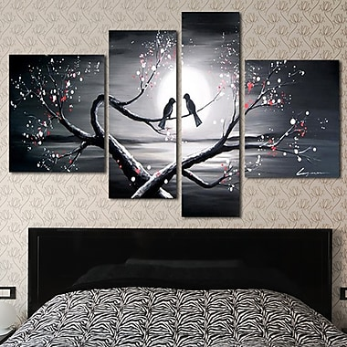 Designart Romantic Love Birds Painting, 4 Piece Art Set, (OL1221)