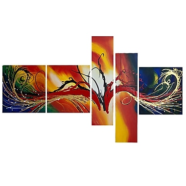 Designart Abstract Multicolor, 5 Piece Multicolor Abstract Painting, (OL1385)