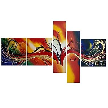 Designart – Peinture abstraite multicolore, 5 panneaux (OL1385)