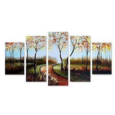 Designart Winding Path on a Sunny Day Forest Oil Painting, (OL1232)