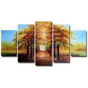Designart – Peinture à l'huile sur toile, Forêt de cimes d'arbres dorés, (OL1234)