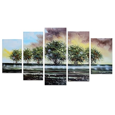 Designart Family of Trees on the Water Forest Oil Painting, (OL1236)