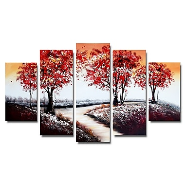 Designart Fall Road Forest Oil Painting, (OL1238)