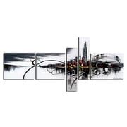 Designart Black & White Cityscape 5-Panel Canvas Art Print, (PT1012-414)