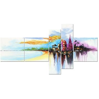 Designart – Tableau moderne sur toile avec contour, Plage paradisiaque, 5 pièces, (PT1060-414)