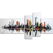 Designart Colors of the City 5-Panel Canvas Art Print, (PT1091-414)