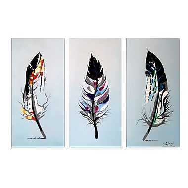 Designart Feathers 3-Panel Bird Canvas Art Print, 36