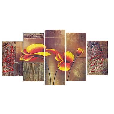 Designart Orange and Beige Flower Canvas Art, (PT141)