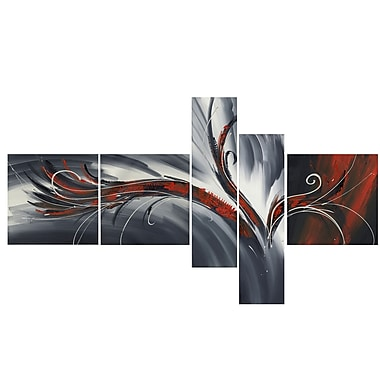 Design Art Abstract Thought, 5 Piece Gallery-wrapped Canvas Print Art, (PT143-RED)