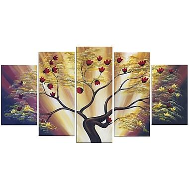 Designart Modern Floral 5-Panel Canvas Art Print, 60