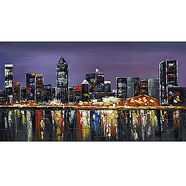 Designart Montreal At Night- Fine Art Canvas Print, (PT2018-32x16)