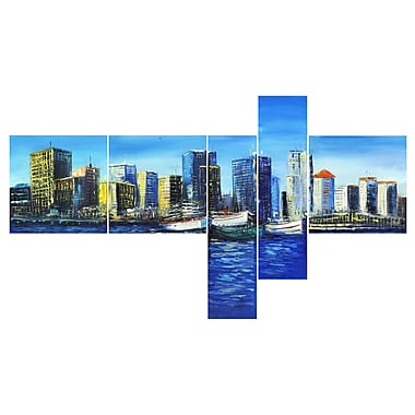 Designart Vancouver Landscape, 5 Piece Gallery-wrapped Canvas Art, (PT2035-414)