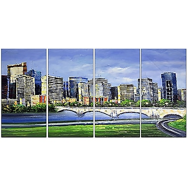 Designart Calgary Cityscape 4-Panel Canvas Art Print, 48