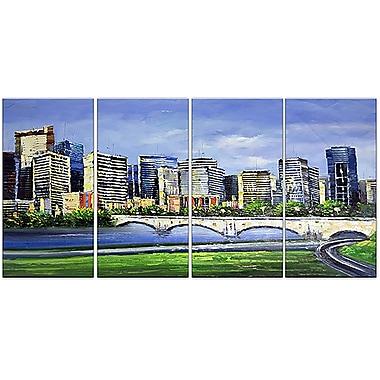 Designart – Panorama Calgary, impression sur toile, 4 panneaux, 48 x 28 po (PT2040-271)