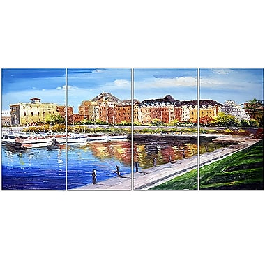 Designart Victoria Cityscape 4-Panel Canvas Art Print, 48