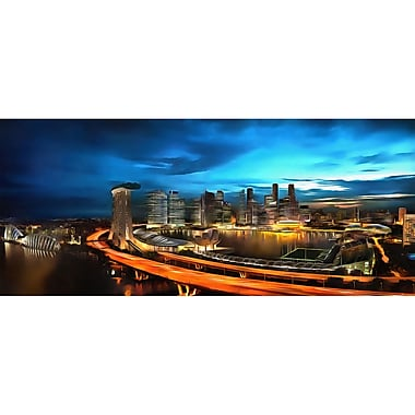 Designart Singapore Cityscape Gallery-wrapped Canvas Art, (PT2043-32X16)