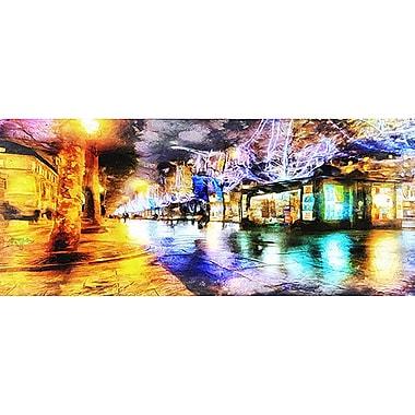 Designart Streets of Paris Cityscape Gallery-Wrapped Canvas Art, (PT2044-32X16)
