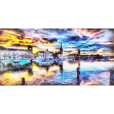 Designart Venise Cityscape Gallery-Wrapped Canvas Art, (PT2047-32X16)